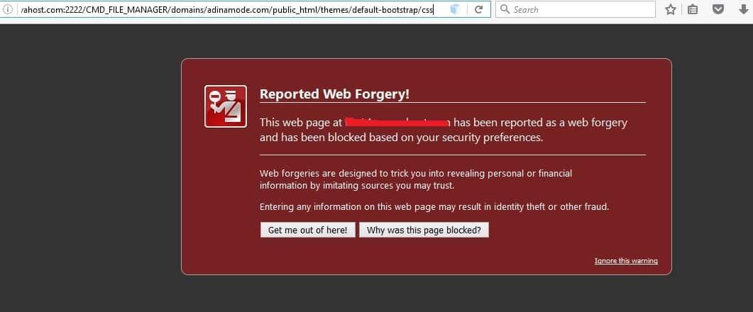 رفع مشکل فیشینگ/پیغام Reported Web Forgery!